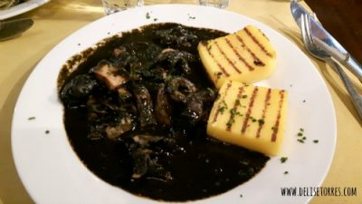 Cuttlefish and its black ink with a side of polenta