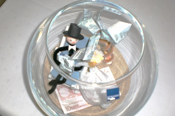Couple in fish bowl with veil made out of money